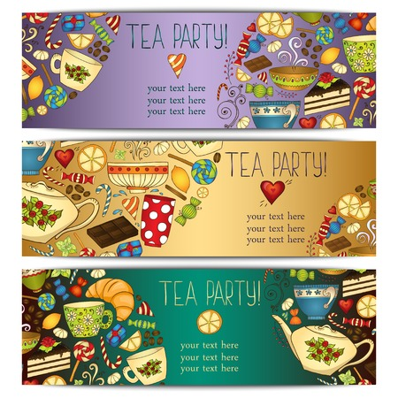 party food: Banner templates vector collection. Tea party. Illustration