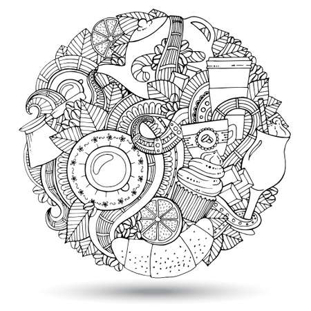 Coffee  Doodles Hand-Drawn Vector Illustration. Vector