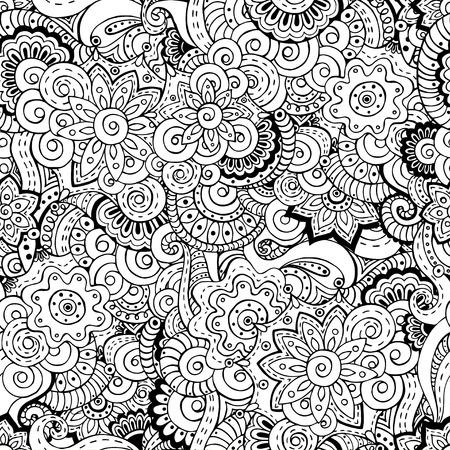 mandala flower: Seamless asian floral retro background pattern. Illustration