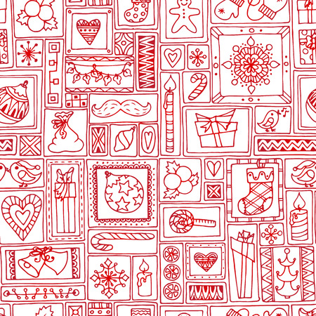 citrus tree: Red seamless Christmas and New Year pattern with bells, christmas tree, sweets, candles, citrus, snowflakes, gifts and hearts. Geometric hand drawn background for cover, prints, packaging. Illustration