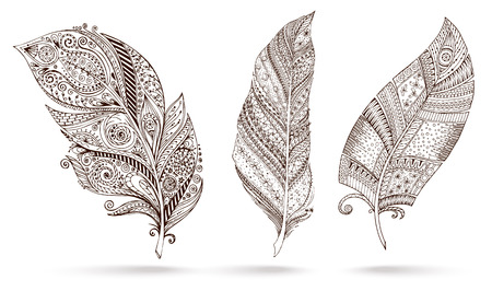 Artistically drawn, stylized, vector set of three feathers on a white background. Vintage tribal feather. Illustration is created from a personal sketch by trace. Series of doodle feather.