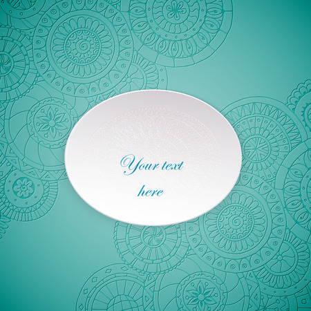 Paper circle banner with drop shadows. Vector illustration. Abstract floral doodle background. Lace circle, snowflake on a white plate with shadow. Vector