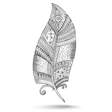Artistiquement dessinée, stylisé, vecteur ensemble de trois plumes sur un fond blanc. Vintage plumes tribale. Illustration est créé à partir d'un croquis personnels par trace. Série de doodle plume. Banque d'images - 34385226