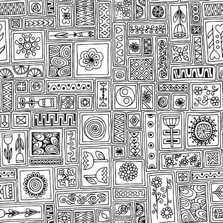 sampler: Patr�n sin fisuras. Sampler flores de bosquejo, hojas, corazones. Modelo geom�trico. Dise�o del marco del modelo para la tarjeta con un conjunto de rect�ngulos del doodle.