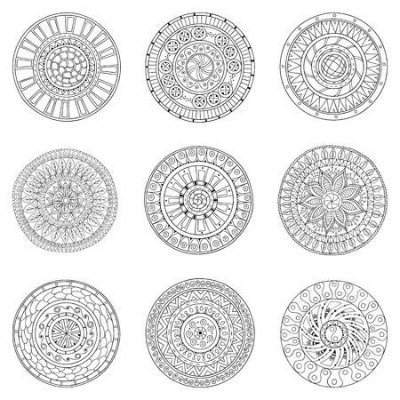 Set of circles, logo design doodle elements. Vector