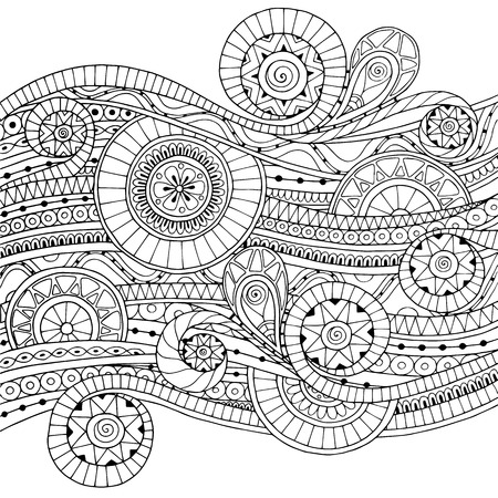 Original drawing tribal doddle ethnic pattern. Background with geometric elements. Black and white version. Vettoriali