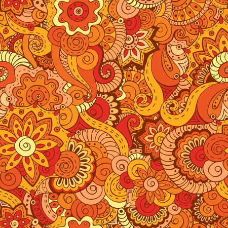 Seamless asian ethnic floral retro doodle background pattern in vector. Henna paisley mehndi doodles design tribal pattern. Used clipping mask for easy editing.