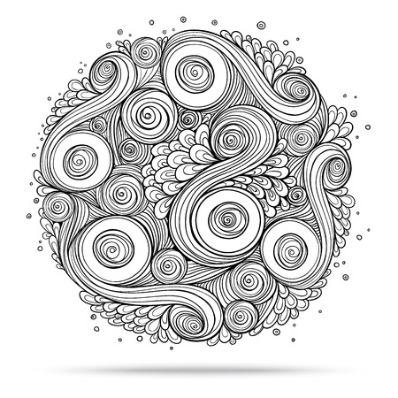 Asian ethnic floral retro doodle background pattern circle in vector. Henna paisley mehndi doodles design tribal design element. Black and white.
