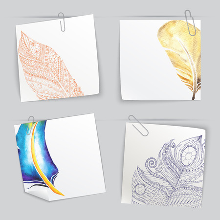 todo: Set of stick notes with light doodle feathers
