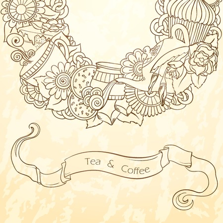 chocolate mint: Coffee and Tea Sketch Doodles Pattern. Illustration