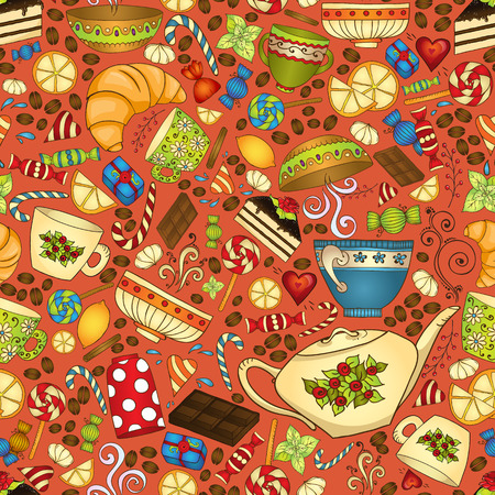 Tea, coffee and sweets seamless pattern. Vector