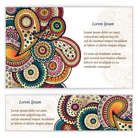 red indian: Set of  doodle paisley posters for your business Illustration