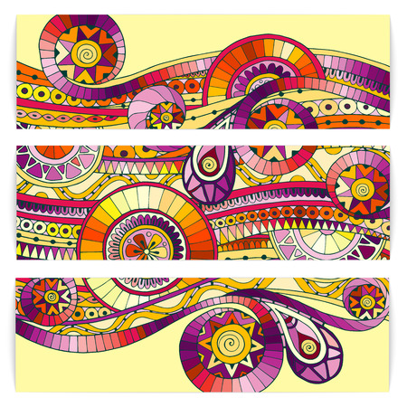 flower designs: Set of abstract doodle tribal vector cards. Illustration
