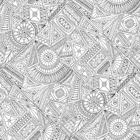 Seamless asian ethnic floral retro doodle black and white background pattern in vector. Henna paisley mehndi doodles design tribal black and white pattern. Used clipping mask for easy editing. Vectores