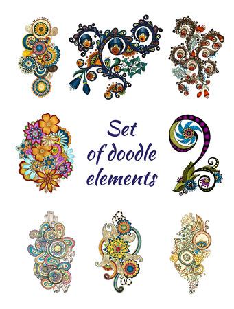 Set van Henna Mehndi Paisley Doodle Element.
