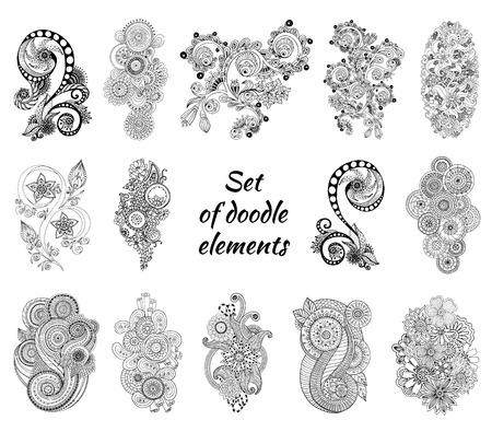 Set van Henna Mehndi Paisley Doodles Element. Stock Illustratie