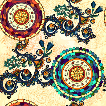 marocco: Vector floral seamless paisley ethnic background. Illustration
