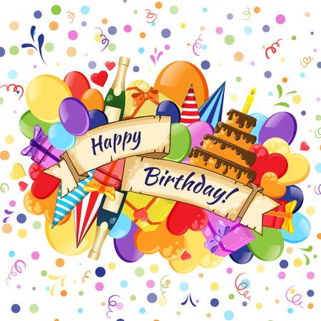Festive Celebration Happy Birthday background  イラスト・ベクター素材