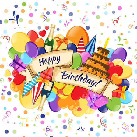 birthday greetings: Festive Celebration Happy Birthday background Illustration