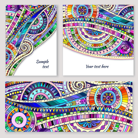 Set of abstract doodle tribal vector cards. Illustration