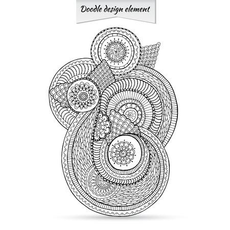 Henna Paisley Doodle Floral Design Element. Çizim