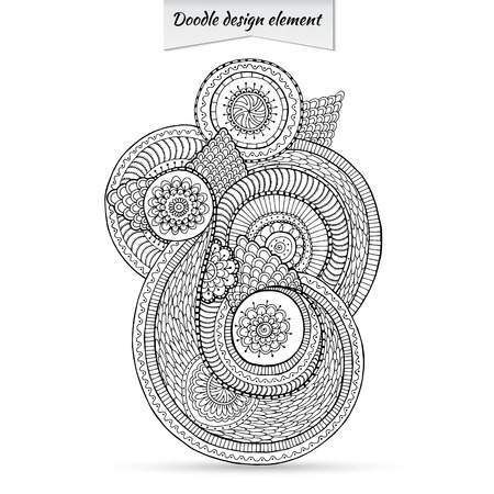 Henna Paisley Doodle Floral Design Element. Illustration