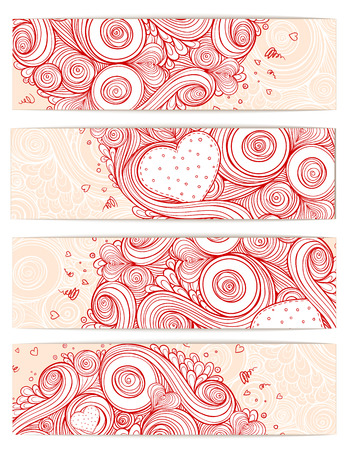 Holiday doodle background. Set of cards Vector