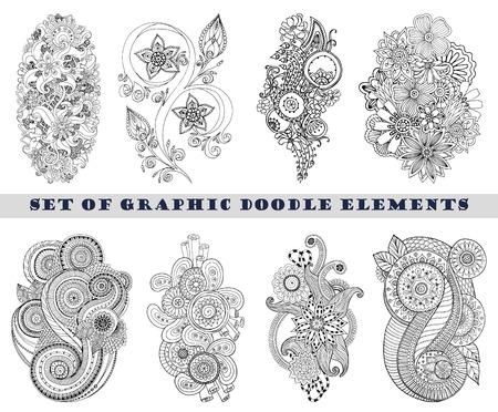 disegni cachemire: Set di Paisley Henna Mehndi Doodle Element.
