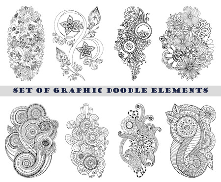 paisley background: Set of Henna Paisley Mehndi Doodle Element.