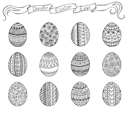 easter cake: Ink hand-drawn doodle vector Easter set with eggs.