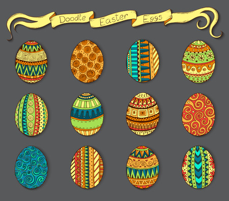 tea basket: Ink hand-drawn doodle vector Happy Easter set with eggs. Doodle style decorated easter egg collection. Each egg is decorated with a different pattern. Zentangle style. Illustration