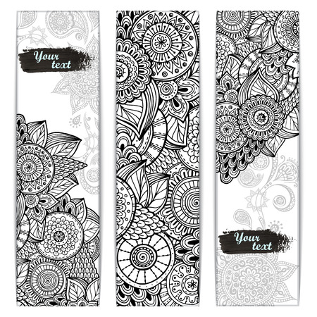 Abstract vector hand drawn ethnic pattern card set. Series of image Template frame design for card.