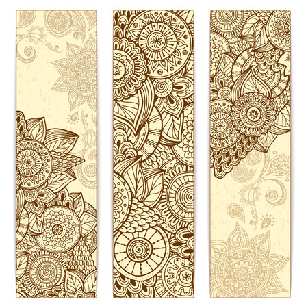Abstract vector hand drawn ethnic grunge pattern card set. Series of image Template frame design for card.