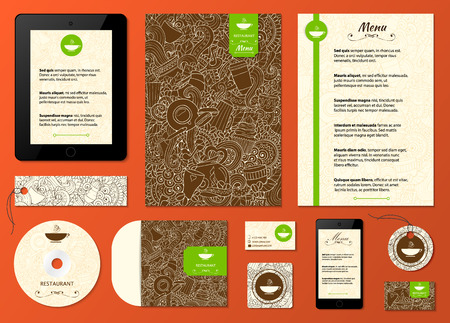 ornament menu: Corporate identity. Cafe, restaurant firm style .