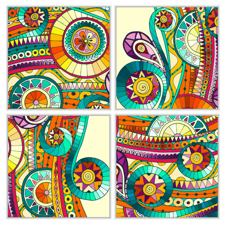 batik: Set of four abstract doodle  vector cards. Illustration
