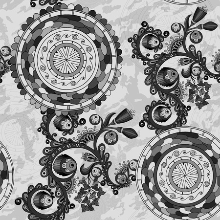 marocco: Black and white floral paisley background