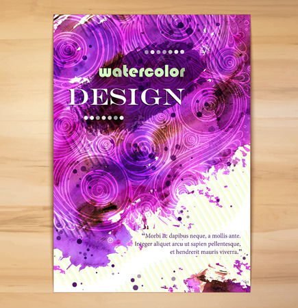 brochure cover: Poster Template with Watercolor Splash.