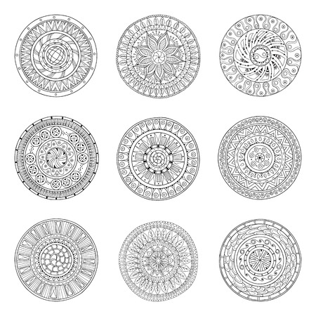 Round ornaments set of doodle mandalas. Vector