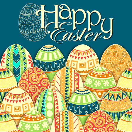 Easter background with colorful doodle eggs. Vector