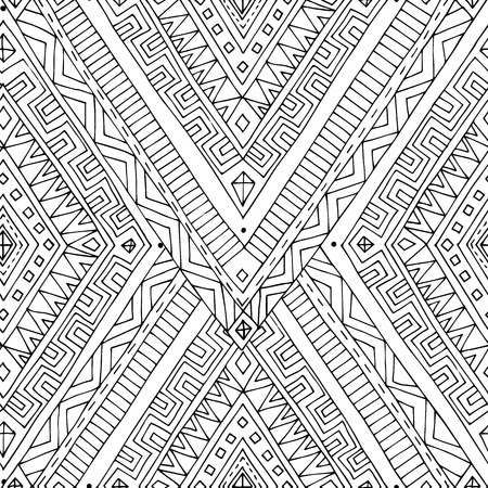 Seamless asian ethnic black and white pattern