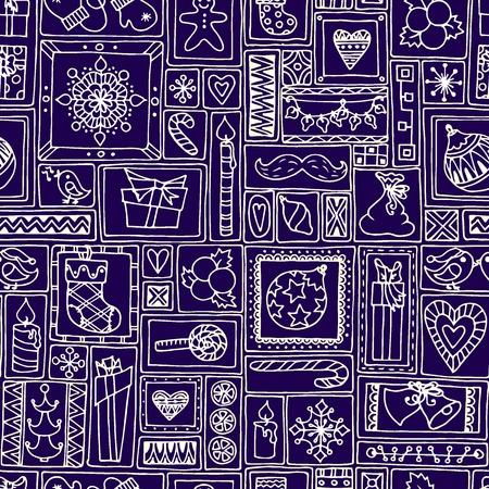 citrus tree: Modelo incons�til azul de Navidad y A�o Nuevo con campanas, �rbol de navidad, dulces, velas, c�tricos, copos de nieve, regalos y corazones. Mano geom�tricas dibujadas de antecedentes para cubrir, impresiones, empaque. Vectores