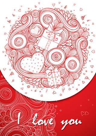 Holiday doodle background. Set of hearts Valentines day cards with doodles on ornate pattern. Hand-Drawn Design Elements. Sketch of love and hearts doodles, vector illustration. Vector