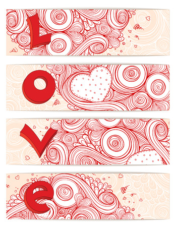 Holiday doodle background. Set of hearts Valentines day cards with doodles on ornate pattern. Hand-Drawn 3D LOVE Lettering Design Element. Sketch of love and hearts doodles, vector illustration. Vector
