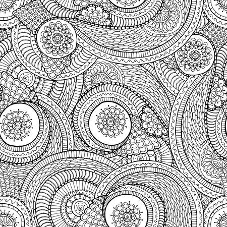 Naadloze Aziatische etnische bloemen retro doodle zwart-wit patroon als achtergrond in vector. Henna Paisley mehndi krabbels ontwerpen tribal zwart-wit patroon. Gebruikte uitknipmasker voor eenvoudige bewerking.