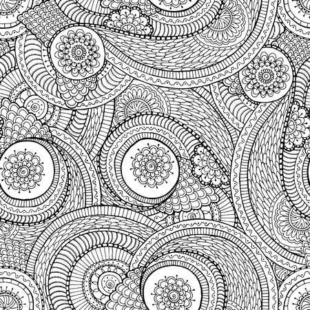Seamless asian ethnic floral retro doodle black and white background pattern in vector. Henna paisley mehndi doodles design tribal black and white pattern. Used clipping mask for easy editing. Illustration