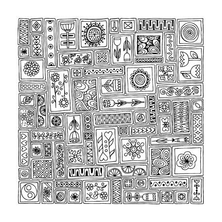 sampler: Floral pattern. Sampler doodle flowers, leaves, hearts. Geometric pattern. Template frame design for card with set of patchwork doodle rectangles.