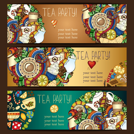 Tea, coffee and sweets doodle template pattern invitation. Greeting card. Tea Branding Design. Breakfast Banners with cups, teapot, chocolate, lemon, cake, croissant and sweets. Vector