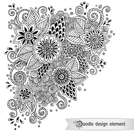 Bloemen retro doodle zwart-wit patroon in vector.