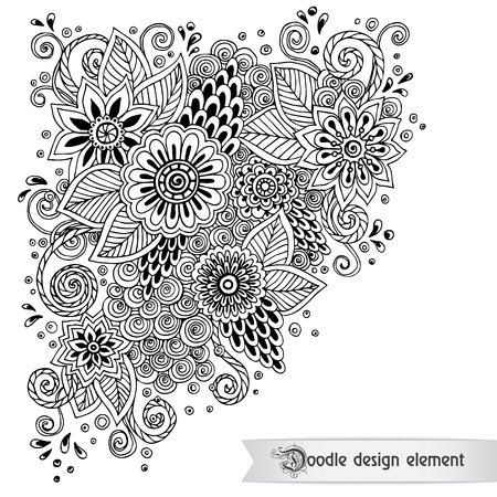 Floral retro doodle black and white pattern  in vector. Çizim