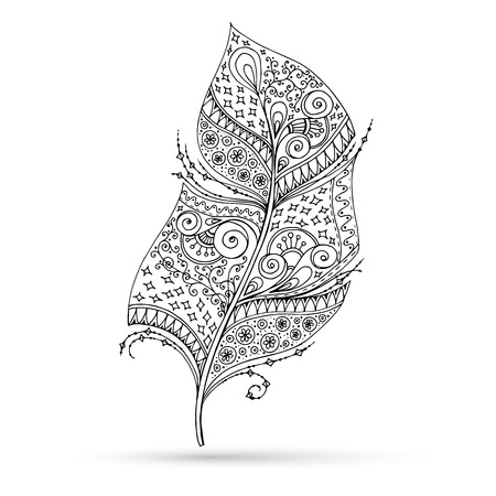 artistically: Artistically drawn, stylized, vector feather on a white background. Illustration